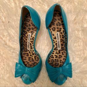 Manolo Blahnik Turquoise Peep Toe Pumps